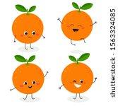 Cheerful Funny Cartoon Orange...