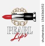 pearl lips. vector hand drawn...   Shutterstock .eps vector #1563366352
