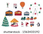 christmas holiday outdoor fair... | Shutterstock .eps vector #1563433192