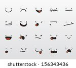 set of funny smiley expressions  | Shutterstock .eps vector #156343436