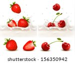 red fruits falling into the... | Shutterstock .eps vector #156350942