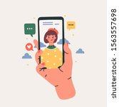 hand holding phone with video... | Shutterstock .eps vector #1563557698