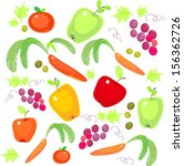 a set of fresh vegetables and... | Shutterstock . vector #156362726
