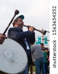 Small photo of Istanbul / Turkey - May 10, 2018 ; the man play clarion and other man play drum.