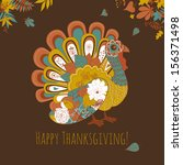 happy thanksgiving beautiful... | Shutterstock .eps vector #156371498