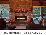 Large Stone Fireplace With...