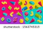 3d memphis style background.... | Shutterstock .eps vector #1563745315