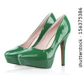 Small photo of High Heels shoes with platform sole, green patent leather