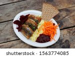 Stock photo street food on authentic wooden background traditional swedish dish fried herring with mashed 1563774085