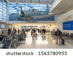 Small photo of Chicago, IL - 11/2/2019: In concourse A of the Midway International airport, an SBD Dauntless dive-bomber, the type aircraft used in the battle of Midway, World War II, IL, Illinois