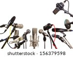 Small photo of Conference meeting microphones prepared for talker - isolated on white background