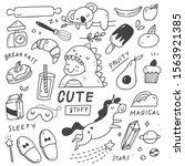 set of cute things doodles | Shutterstock .eps vector #1563921385