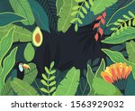 tropical leaves background with ...   Shutterstock .eps vector #1563929032