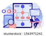 analyst working at laptop with... | Shutterstock .eps vector #1563971242