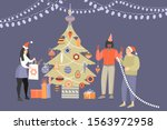 three young people decorating a ... | Shutterstock .eps vector #1563972958