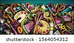 artist hand drawn doodle banner.... | Shutterstock .eps vector #1564054312