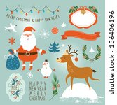 set of christmas and new year's ... | Shutterstock .eps vector #156406196