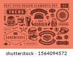 fast food and street signs and... | Shutterstock .eps vector #1564094572