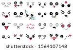 kawaii cute faces. manga style... | Shutterstock .eps vector #1564107148