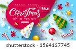 christmas sale web banner.... | Shutterstock .eps vector #1564137745