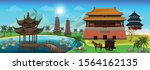 panorama view of ancient...   Shutterstock .eps vector #1564162135