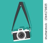 vintage camera hanging on a... | Shutterstock .eps vector #1564173835