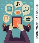 user hold mobile device. tablet ... | Shutterstock .eps vector #156420818