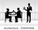 couple in restaurant holding... | Shutterstock .eps vector #156454346