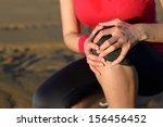 runner sport knee injury. woman ... | Shutterstock . vector #156456452