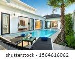 Small photo of luxury Swimming pool in luxury pool villa