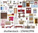illustration of interior... | Shutterstock . vector #156461996