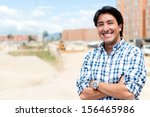 man at a construction site... | Shutterstock . vector #156465986