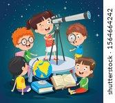 kid using telescope for... | Shutterstock .eps vector #1564664242