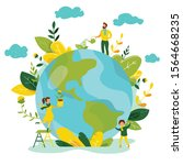 ecology concept. people take... | Shutterstock .eps vector #1564668235