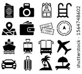 tour vector icons set. travel... | Shutterstock .eps vector #1564748602