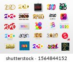 set of happy new year 2020 logo ... | Shutterstock .eps vector #1564844152