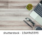 top view office desk with... | Shutterstock . vector #1564965595