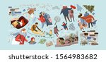 winter family holidays. vector... | Shutterstock .eps vector #1564983682
