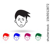 frown on face multi color icon. ...
