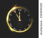 golden shiny clock vector... | Shutterstock .eps vector #1565044105