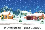 rural winter landscape flat... | Shutterstock .eps vector #1565060092