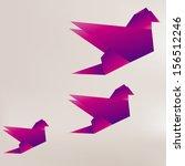 origami paper bird on abstract...   Shutterstock . vector #156512246