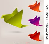 origami paper bird on abstract... | Shutterstock .eps vector #156512522