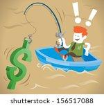 retro corporate guy is fishing... | Shutterstock . vector #156517088