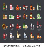 various alcohol bottles with... | Shutterstock .eps vector #1565193745