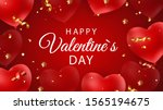 happy valentines day card with... | Shutterstock . vector #1565194675