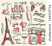 set of paris landmarks and... | Shutterstock .eps vector #156519716