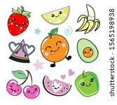 funny fruits in kawaii style... | Shutterstock .eps vector #1565198938