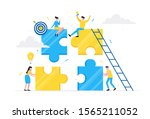 teamwork concept with tiny... | Shutterstock .eps vector #1565211052