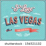 vintage greeting card from las... | Shutterstock .eps vector #156521132